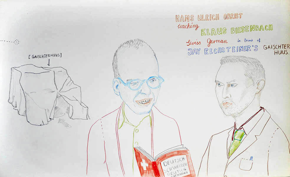 drawing by Jay Rechsteiner (Hans-Ulrich Obrist and Klaus Biesenbach)