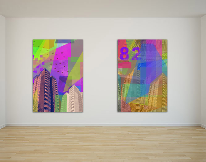 Digital Vantage, large collage in-situ, gallery, by Jay Rechsteiner