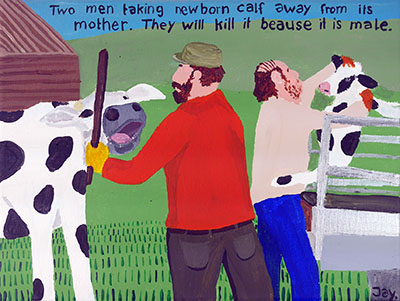 Bad Painting 63 by Jay Rechsteiner - milk cow, animal cruelty