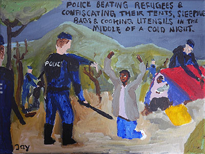 Bad Painting 70 by Jay Rechsteiner, Calais French Police beating refugees