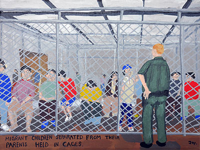 Bad Painting 88: migrant children kept in cages, USA