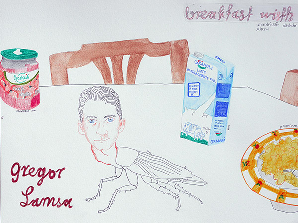 Breakfast with Gregor Samsa, drawing by Jay Rechsteiner