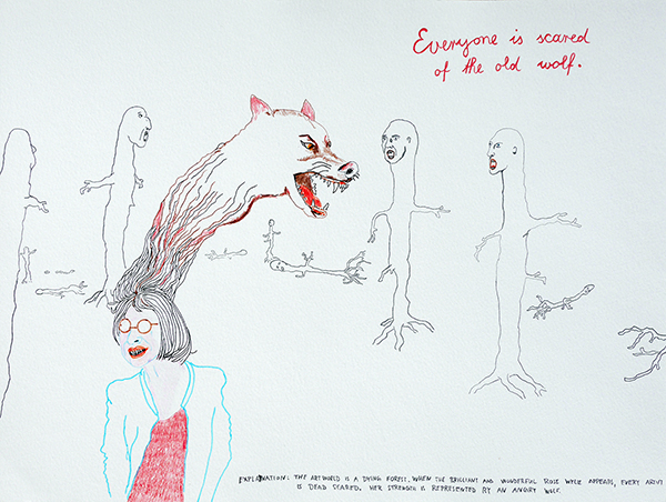 Everyone is scared of the old wolf, drawing by Jay Rechsteiner, drawing by Jay Rechsteiner