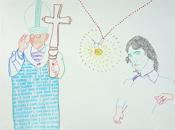 I love David Hockney,  drawing by Jay Rechsteiner