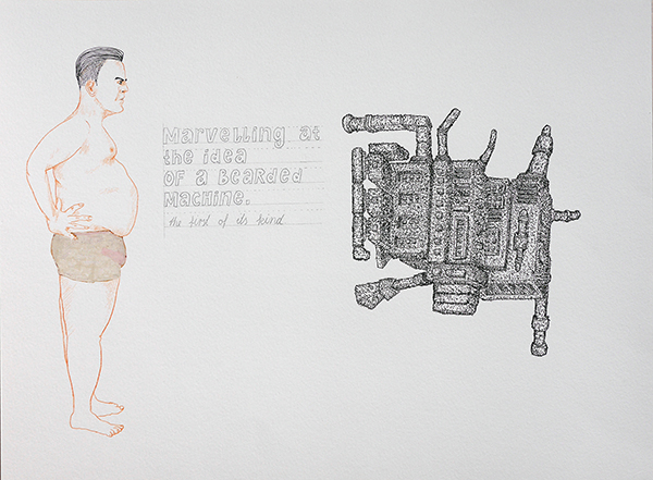 Marvelling at the idea of a bearded machine, drawing by Jay Rechsteiner